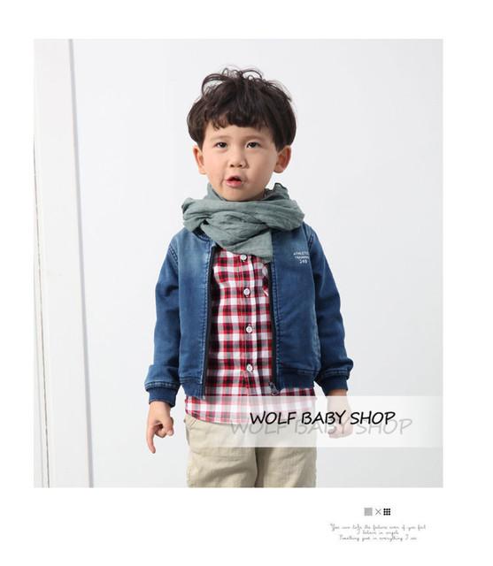 Retail niños del bebé Ropa Ropa de los muchachos chaqueta de vaquero chaqueta de la capa de Ropa Infantil 2014 del nuevo envío libre