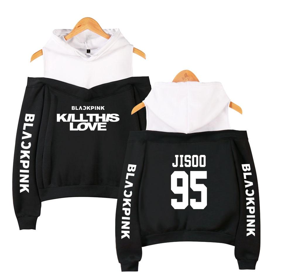 Blackpink New Album KILL THIS LOVE Off-shoulder Hoodies Sweatshirt Casual Comfortable Basic High Street Women Sexy Hoodies Women