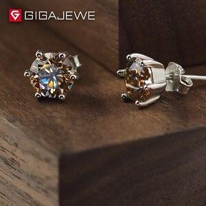 Image 2 - GIGAJEWE Moissanite Altın Yuvarlak Kesim Toplam 1.6ct Lab Grown Diamond 6 Prong Gümüş Küpe moda takı Kız Arkadaşı Hediye
