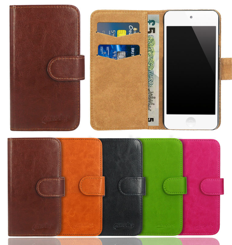 reputable site 1c99b 008b9 US $2.64 |case for Apple iPod Touch 5th Generation , Premium Leather Flip  Wallet Bag Cover with stand and Card Holder Phone Protection-in Wallet  Cases ...