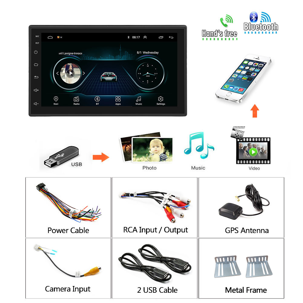 Podofo lecteur multimédia de voiture android GPS Navigation 2DIN HD Autoradio WiFi USB FM 2 Din 7