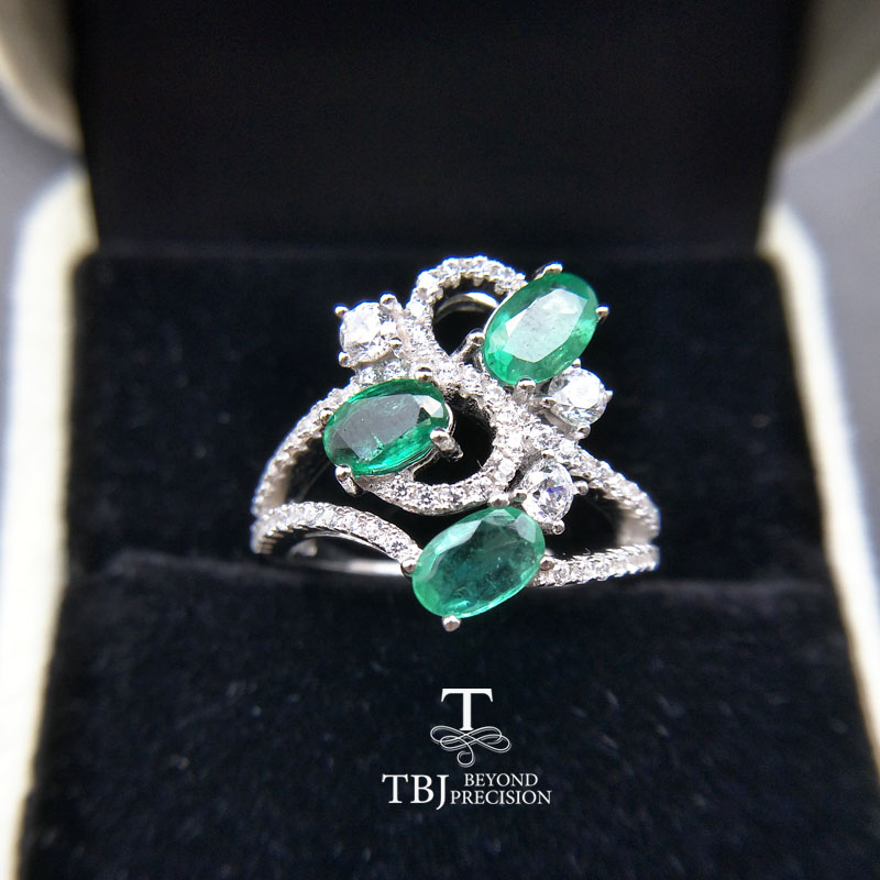 TBJ Natural Emerald gemstone Ring in 925 sterling silver fine jewelry nice gift for wife women