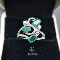 TBJ,Natural Emerald gemstone Ring in 925 sterling silver fine jewelr ,nice gift for wife women anniversarry party with gift box