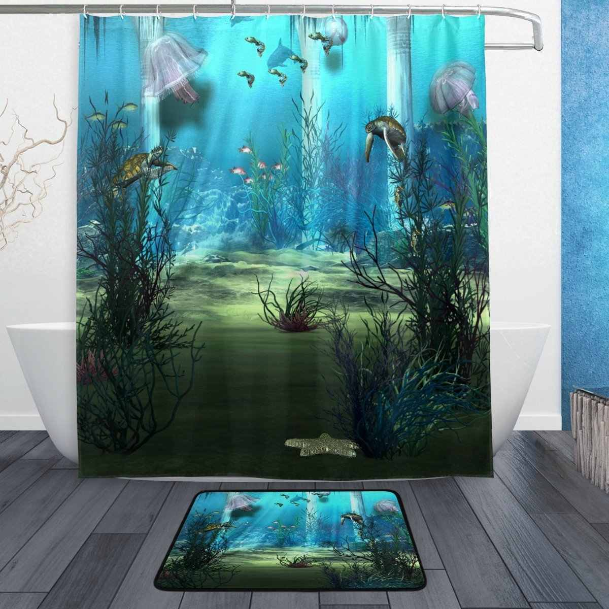 Sea Ocean Beach Shower Curtain and Mat Set, Underwater World Seajelly Turtle Waterproof Fabric Bathroom Curtain