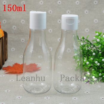 150ML Clear Frosted Empty Plastic Cosmetics Container Flip Top Cap,Liquid Lotion Plastic Bottles Shampoo Packing Container
