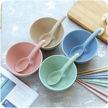 Highquality Wheat Straw Rice Bowl Afraid To Throw Children Tableware Salad Soup Dessert Bowl Lunch Box Bowl Soup Tableware
