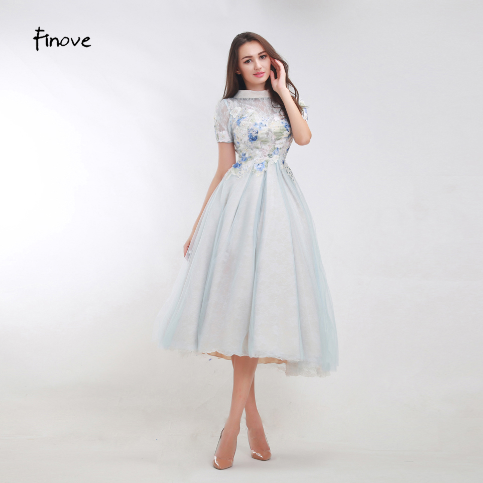 Luxurious Prom Dresses From Finove Dusty Blue Prom Dresses 2018 New Styles A Line Finove Dusty Blue Prom Dresses 2018 New Styles A Line Appliques Tea Length Women Dresses wedding dress Dusty Blue Dress