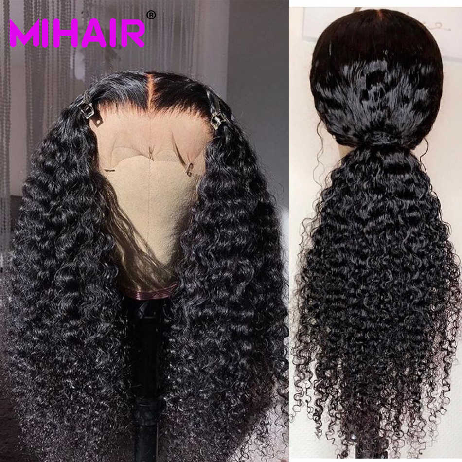 Бразильские густые вьющиеся волосы с фронтальной 100% человеческие волосы пучки с закрытием MIHAIR пучки волос Remy с кружевной фронтальной застежкой