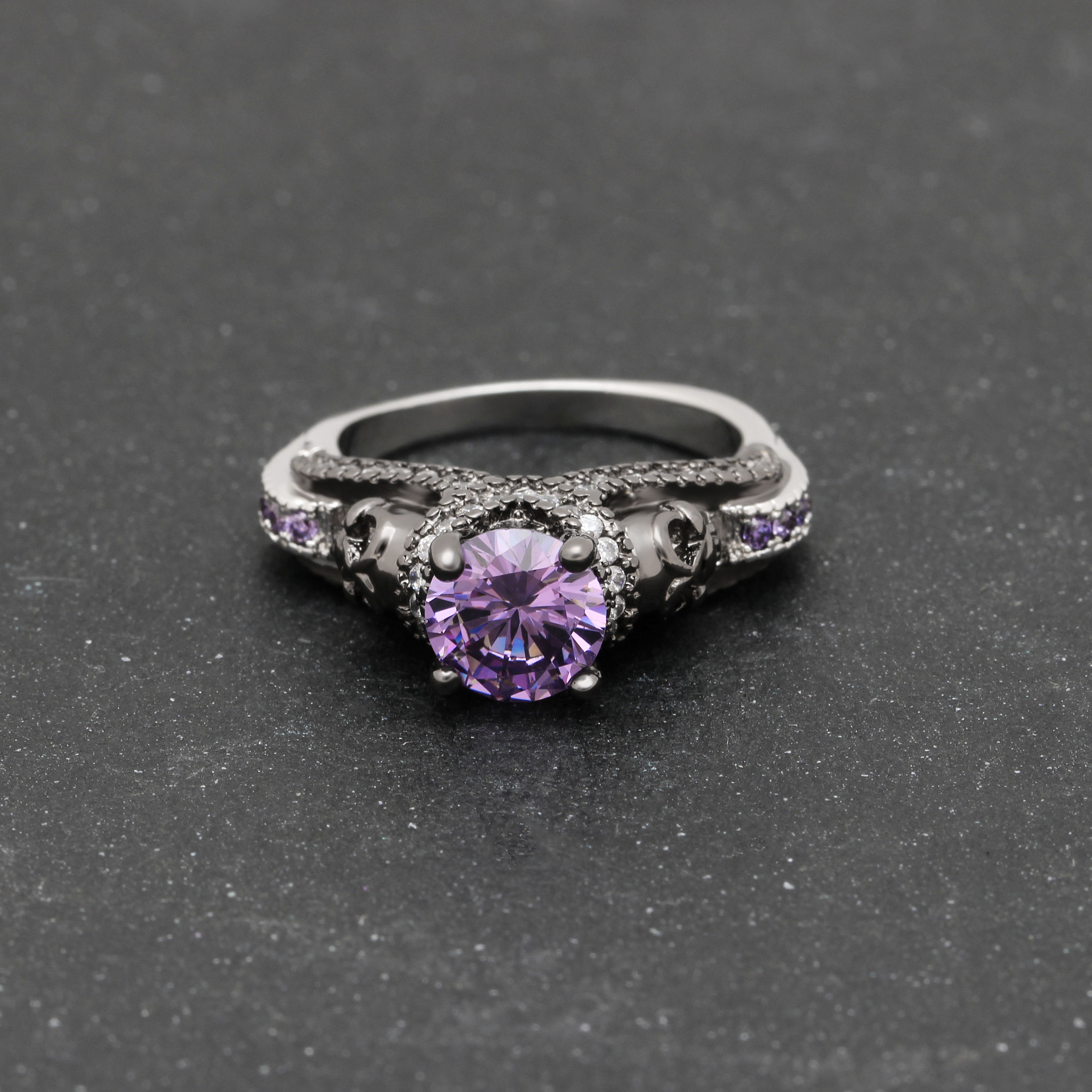 Party Ring Birthstone Skull Ring 8