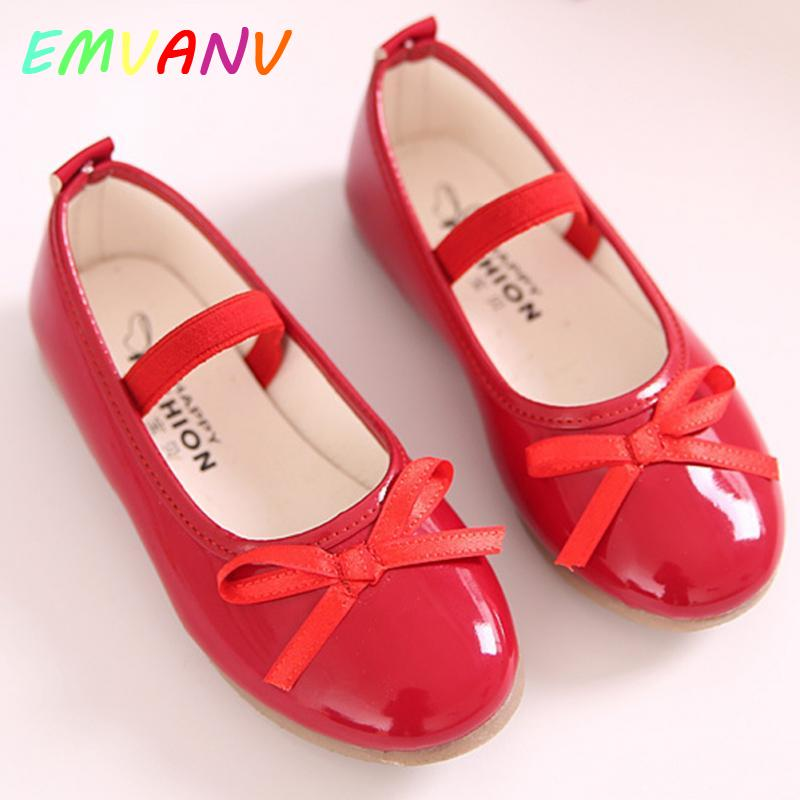 Fashion Girls Sweet Princess Shoes Kid Party Dress Performance Flat Heels Slip-on Shoes Bow Princess Leather Shoes #18