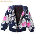 2017 spring  Girls Warm Coat  autumn Baby Girl Jackets Long Sleeve Flower Jacket For Children Cotton-Padded Clothes Kids Outwear