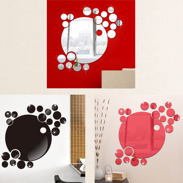 Bubble round decal acrylic posters wall sticker mirror home decor removable wall stickers poster background decoration