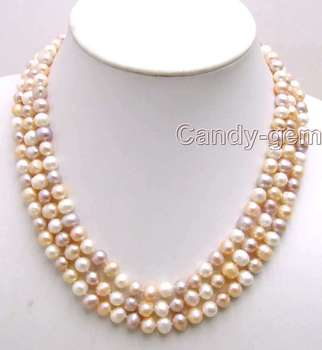 SALE 8-9MM MULTI-COLO Round Natural Freshwater PEARL 3 STRANDS Necklace-5 190