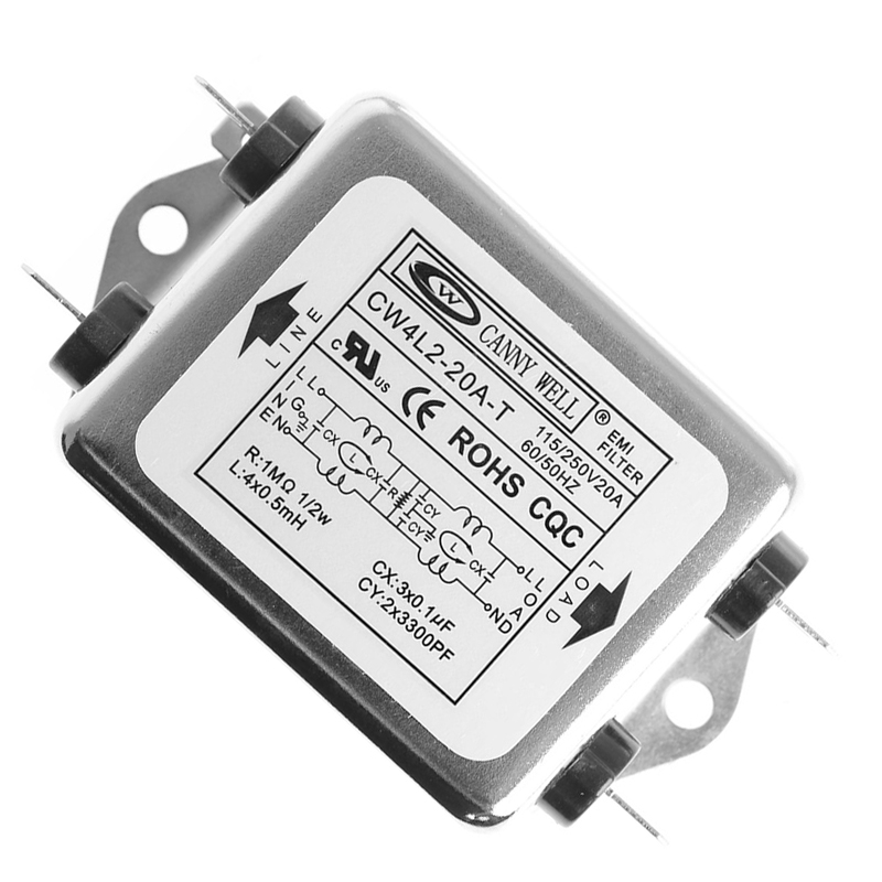 Power EMI Filter CW4L2-20A-T Monophasic Enhanced AC 220V 50//60 HZ 220V Negro unidad de fuente de alimentaci/ón