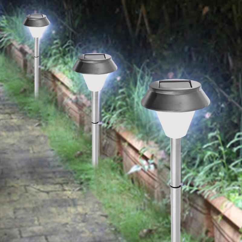 Stainless Steel Solar Powered Lawn Lamp Garden Lawn Bulb LED Light Pathway Garden Lamp for Landscape automatic solar powered 1 led white light lawn garden lamp silver
