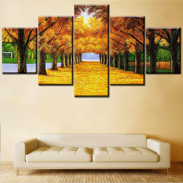 5pcs Golden Tree S Street Wall Painting For Home Decor Oil Art Print Canvas No