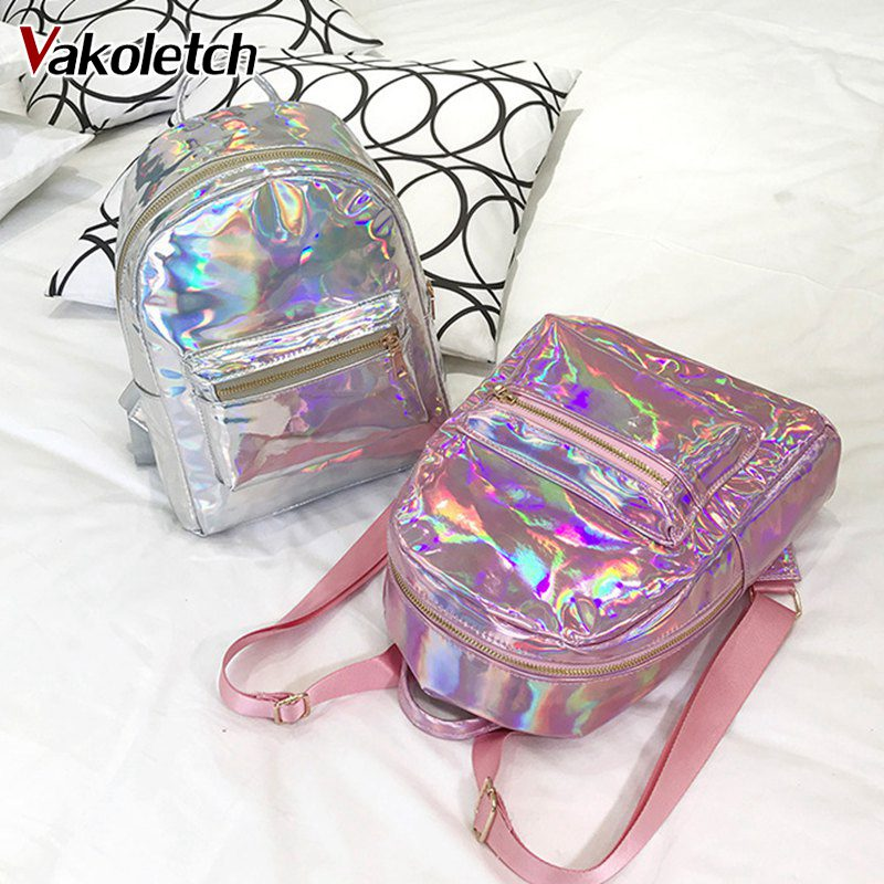 Travel Bags Silver Gold Pink Laser Backpack women girls Bag pu leather Holographic Backpack school bags for teenage girls KL240 cartoon melanie martinez crybaby backpack for teenage girls school bags backpack women casual daypack ladies travel bags