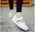 Blanco zapatos de cuero de Corea del arte de la lona zapatos ocasionales de las señoras Zapatos de Plataforma de suela gruesa Estudiante TAMAÑO 35-40