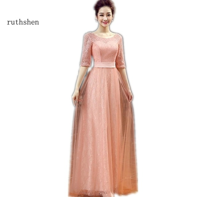 ruthshen Cheap Pink / Red Long Prom Dresses 2018 Half Sleeves ...