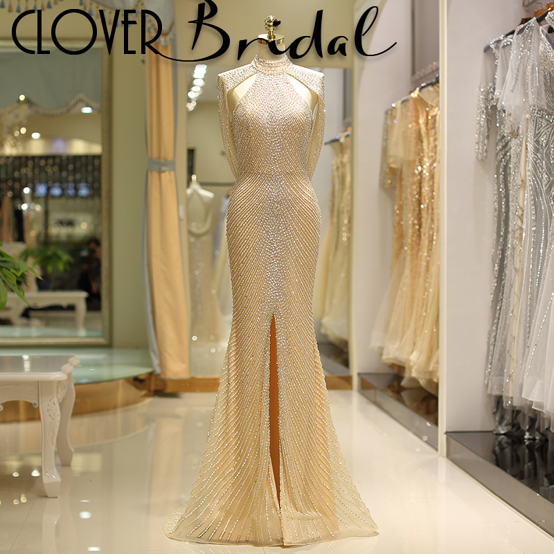 CloverBridal luxury sequins beaded high front slit mermaid sexy champagne long   prom     dresses   2019 backless halter tulle   dress