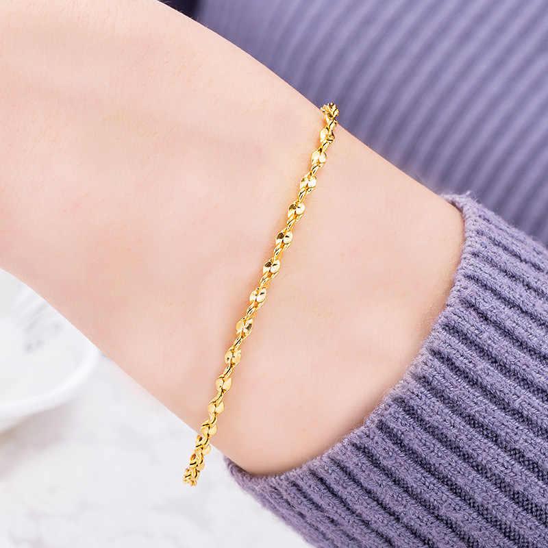 OMHXFC, оптовая продажа, Европейская мода, для женщин, для вечеринки, дня рождения, свадьбы, подарок, винтажные витые бусины, 18 К, золотые браслеты BE192
