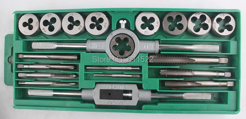 20pcs tap and die set export to USA  quality metric size and good price fast delivery to anywhere for home use best choice 20pcs m3 m12 screw thread metric plugs taps tap wrench die wrench set