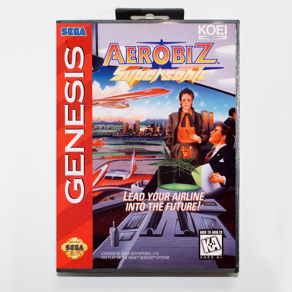 New 16 bit MD game card - aerobiz super sonic with Retail box For Sega genesis system