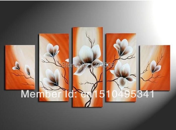 100% ručně malované oranžové větve bílé květy Krajina zeď Domácí výzdoba olejomalba na plátně 5ks / sada