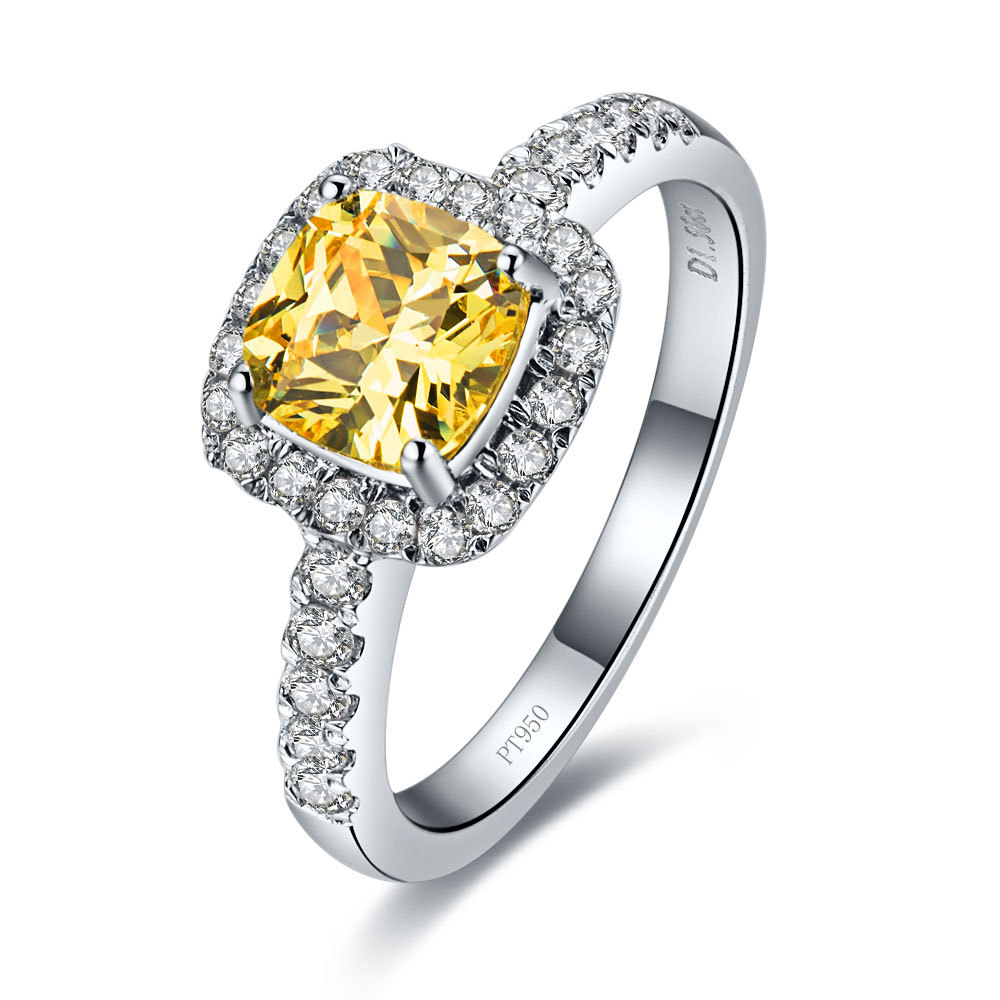 3 Carat Pure White Gold Yellow Cushion Cut Authentic Synthetic Diamonds  Women Engagement Ring With High