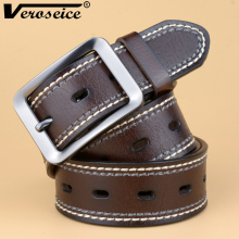 [Veroseice] New Arrival Cowhide Genuine Leather Belts for Men Brand Strap Male Pin Buckle Fancy Vintage Jeans Cintos Men Belt