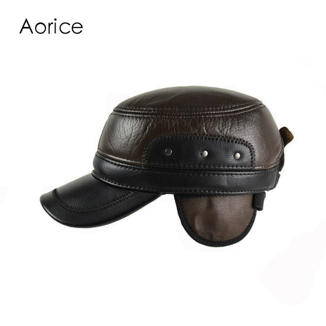 e2af881ea3a HL158-F Genuine Leather Baseball Golf Sport Cap Hat Men s Winter Brand New  Real Leather Army Hats Caps With Ear Flap