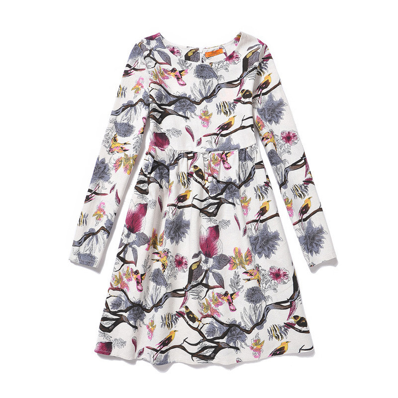 Baby Girl Dresses Autumn printed children's dress long-sleeved flowers cotton and linen princess  Europe and the United States 2017 spring and summer fashion girls clothing europe and the united states wind dress long sleeved lace princess peng peng dress