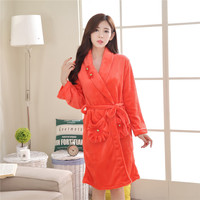 Ladies Coral Fleece Long Night robe Sleepwear Shawl Collar Bathrobe Spa Clothes Y26 Womens Cotton Sleep Wear Sleep Shirt