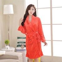 Ladies Coral Fleece Long Night robe Sleepwear Shawl Collar Bathrobe Spa Clothes Y26 Womens Cotton Sleep Wear Sleep Shirt