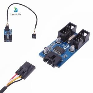 Image 1 - Centechia 1 sztuk płyta główna USB 2.0 9Pin 1 do 4 przedłużenie rozgałęźnika PCB Chipset obudowa PC wewnętrzny ulepszony przedłużacz gadżet JSX