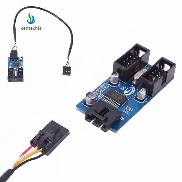 Centechia 1 sztuk płyta główna USB 2.0 9Pin 1 do 4 przedłużenie rozgałęźnika PCB Chipset obudowa PC wewnętrzny ulepszony przedłużacz gadżet JSX