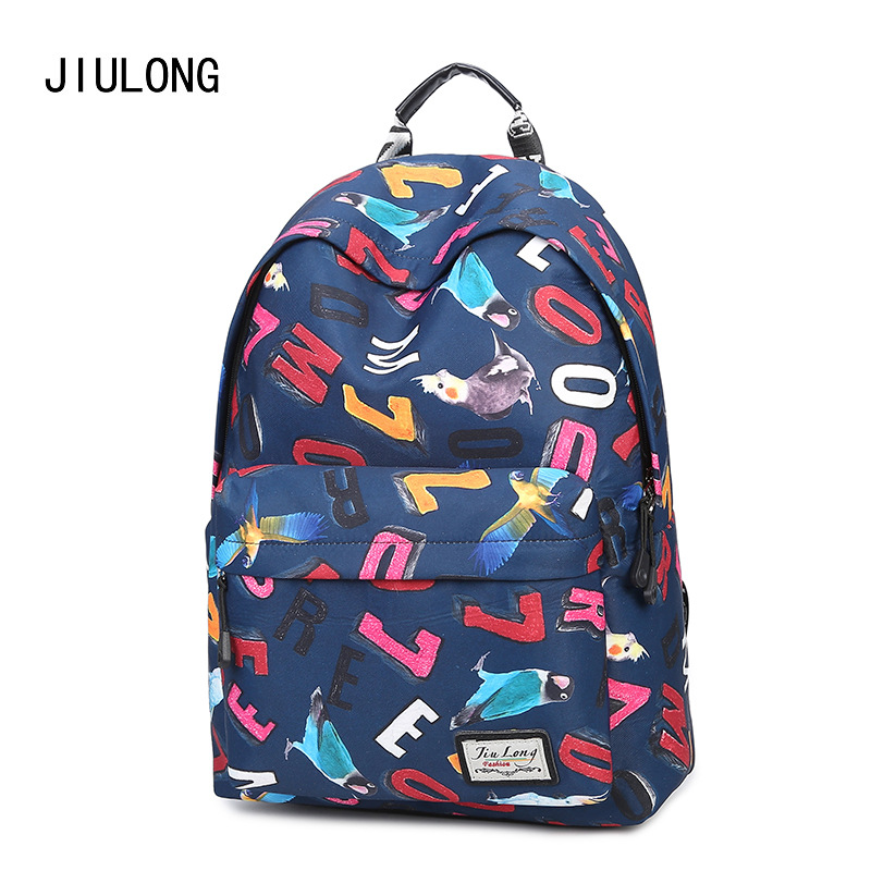 New Backpack Print Korean Female Version of The School Wind Student Bags High School Girls Campus