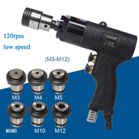 110 to 400rpm Speed Gun And Straight Handle Type Pneumatic Tapping Machine Air Drill Tapper Tool Handheld M3 to M12 Chuck Set