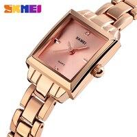2019 SKMEI люксовых брендов для женщин кварцевые женские часы металлический ремешок женские часы Relogio Feminino дамы наручные 1407