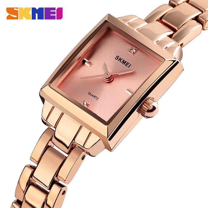 2019 SKMEI Luxury Brands Women Quartz Watches Ladies Watch Metal Strap Female Watch Relogio Feminino Ladies Wristwatches 1407
