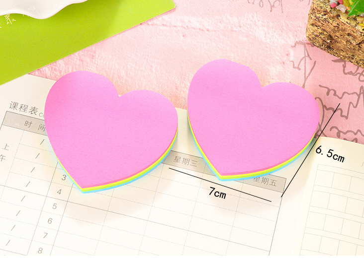 Lovely heart 4color fluorescence Self-Adhesive Memo Pad Sticky Notes Post It Bookmark School Office Supply papelaria