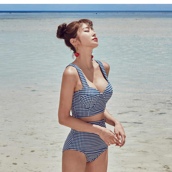 ec19d2f0d Vintage High Waist Plaid Bikini Set Korean Style Back Bow Lace Up ...