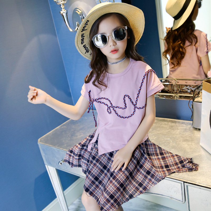 2018 Teenage Girls Clothing Sets Summer Casual Children Clothing Kids Clothes Toddler Girls Suits T-shirts Tops + Plaid Skirts 2017 summer girls sets clothes short sleeve chiffon baby girls sets for kids big girls t shirts and stripe shorts children suits