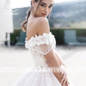 Image 5 - Swanskirt sevgiliye balo cüppe şeklinde gelinlik kapalı omuz boncuklu aplikler 3D çiçekler prenses gelin Vestido de Noiva K175