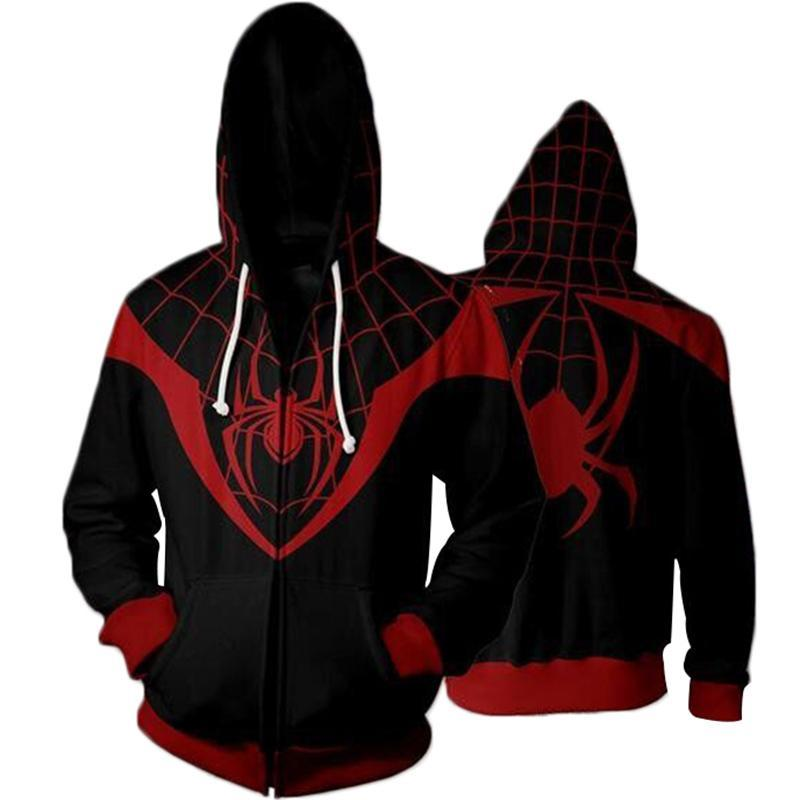 Movie Miles Morales Spiderman Cosplay Hoodie Sweatshirts Men Zipper Hooded Thin Sweatshirt Jacket Halloween Costumes Tops
