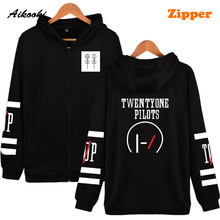 Aikooki Twenty One Pilots Hooded Hoodies Men Zipper Rock Band Hip Hop Mens Hoodies And Sweatshirts Fashion Male Female Clothes