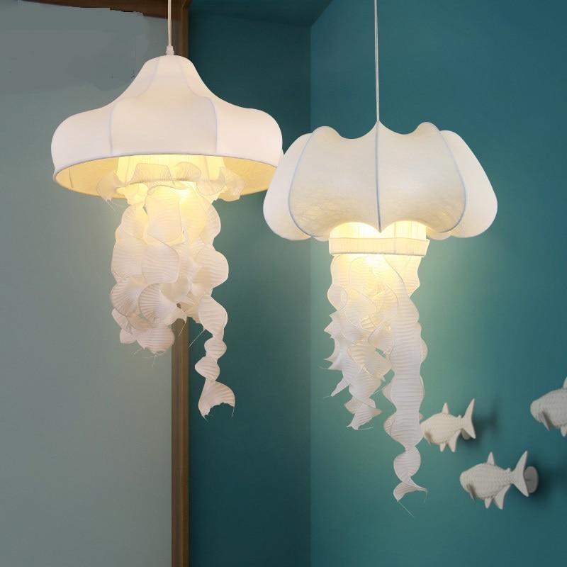 Tissu blanc hone éclairage lampes soie tissu méduse pendentif lumières Art café décoratif couloir restaurant vêtements ZA ZS93