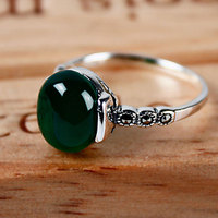 Jiashun 925 Silver Jewelry Ring Emerald Green Agate Chalcedony Ring Simple Personality