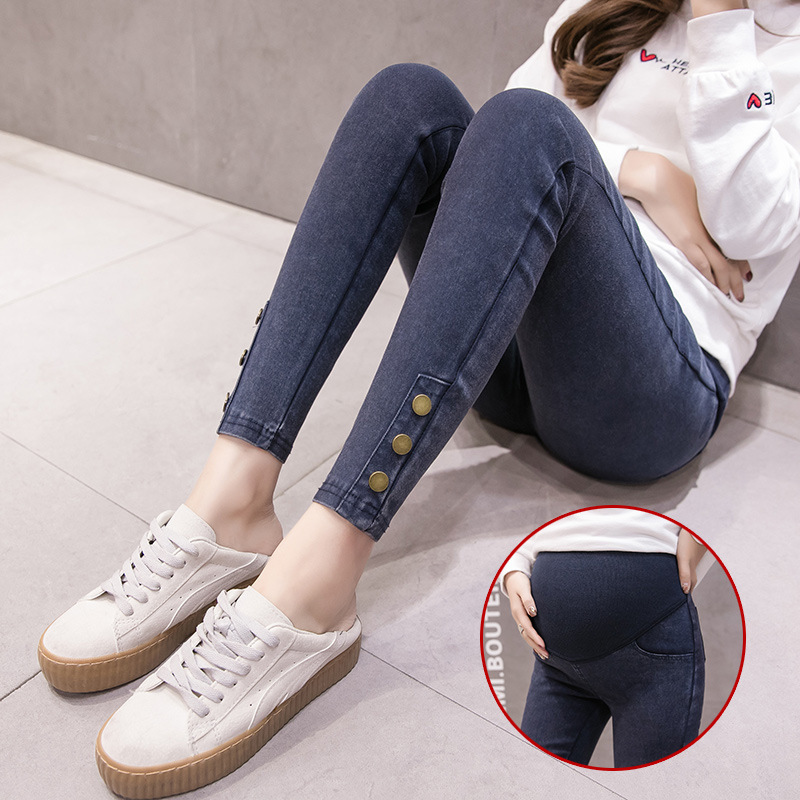 Button Jeans Maternity Clothes For Pregnant Women Pencil Pants High Stretch Jeans Pants Pregnancy Clothing Spring Skinny Jeans image