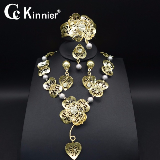 New Dubai Gold Color African Bead Jewelry Sets Fashion Bridal